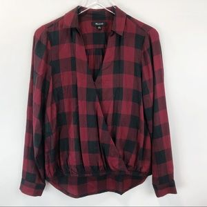 Madewell | Wrap Front Buffalo Plaid Top Blouse S